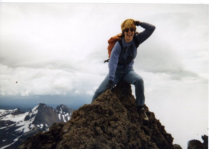 Susan on the summit of Sister's